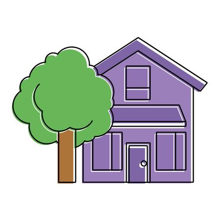 house home exterior with tree leafy natural vector illustration Reklamní fotografie - 91395920