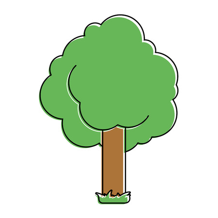 tree foliage nature trunk with grass vector illustration