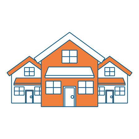 drie moderne huizen wonen twee verdiepingen wijk vectorillustratie