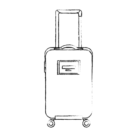 travel suitcase with retractable handle and wheels luggage vector illustration sketch design