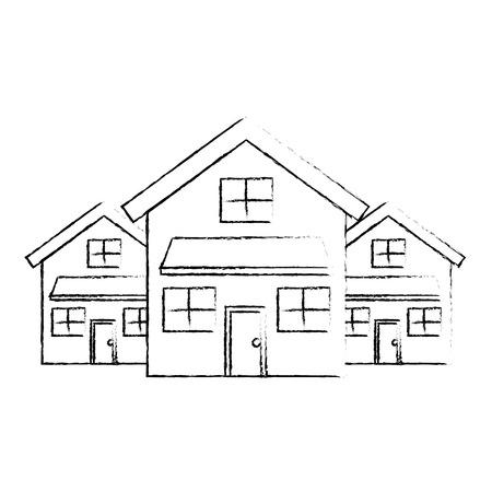 Vektorillustrations-Skizzendesign des dreistöckigen Nachbarschaftswohnsitzes mit zwei modernen Häusern Standard-Bild - 91395929