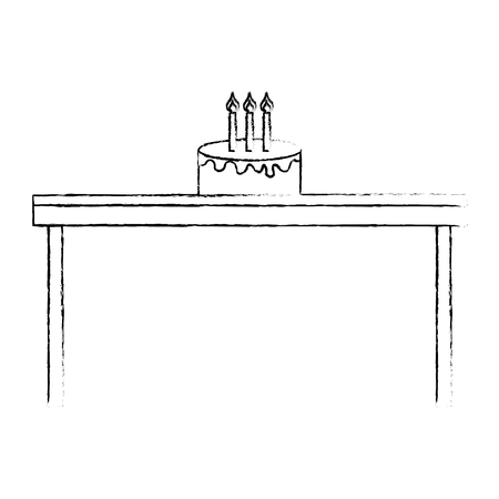 birthday cake with candles on wooden table vector illustration sketch design