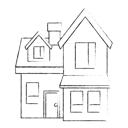 house big attic floor and chimney roof windows door urban vector illustration sketch design