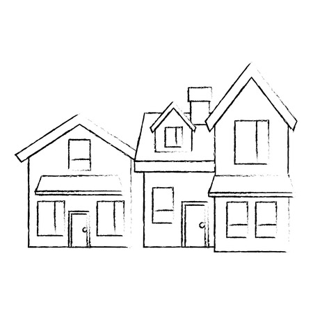 two storey houses with chimney architecture residential vector illustration sketch design Illustration
