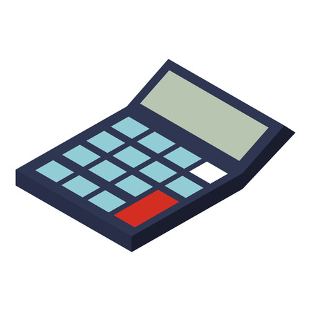isometric calculator math financial economy object vector illustration