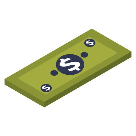 money isometric banknote dollar cash vector illustration