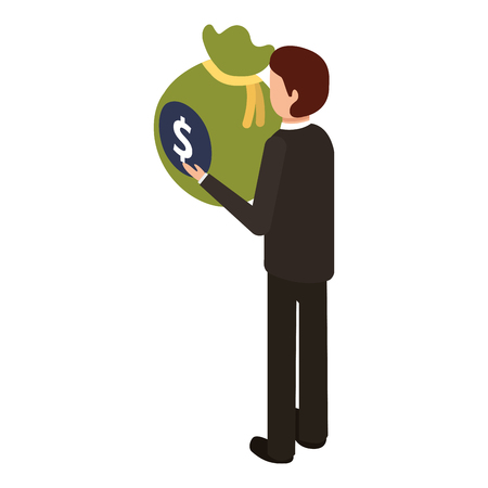 businessman isometric holding bag money back view vector illustration