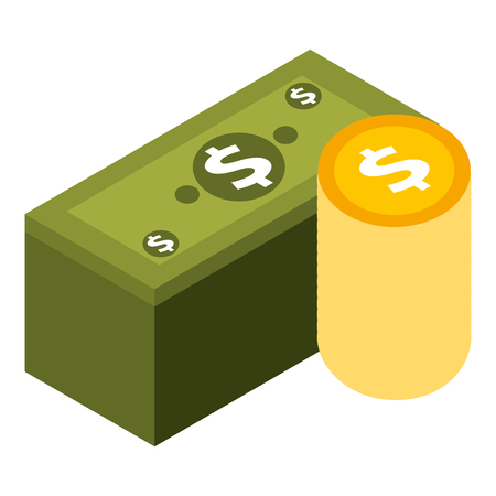 staked banknote and coins currency bank isometric vector illustration