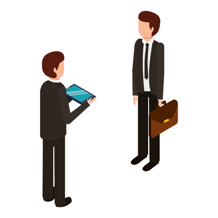 businessman standing with briefcase and tablet isometric vector illustration