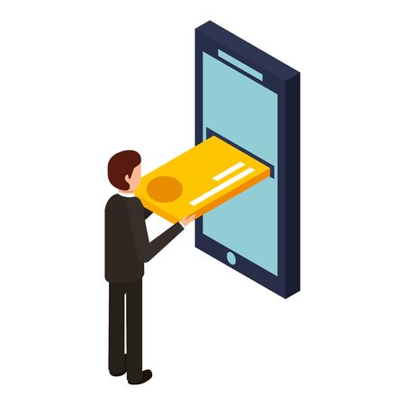 モバイルアイソメベクトルイラストにクレジットカードを挿入するビジネスマン 写真素材 - 91395231