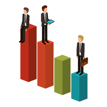 different businessman standing on bar charts their financial status vector illustration