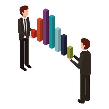 businessman holding graph bars financial business isometric vector illustration Çizim
