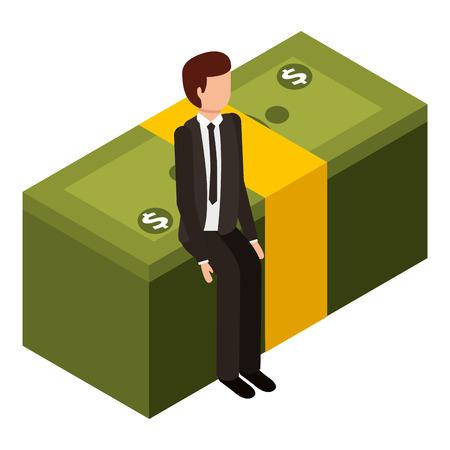 zakenman zit stak bankbiljet geld isometrische vectorillustratie