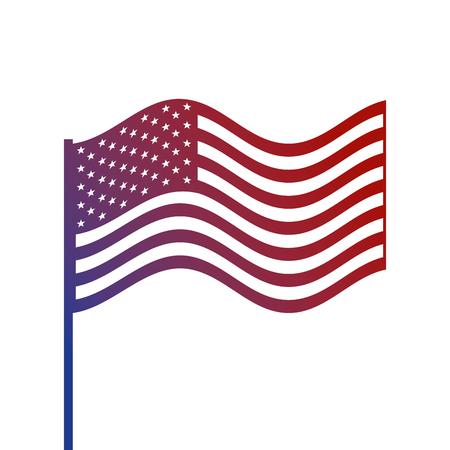 united states of america flag in pole waving vector illustration Illustration