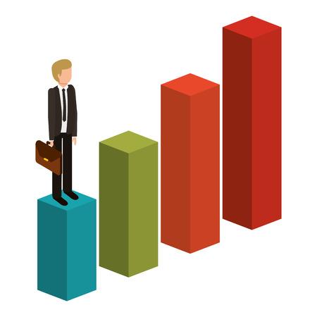 失敗した文字等尺性ベクトル図をグラフ上にブリーフケース立ってイライラ実業家