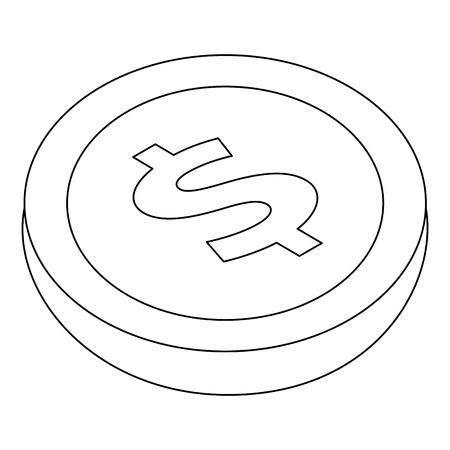 geld munt valuta dollar pictogram isometrische vectorillustratie