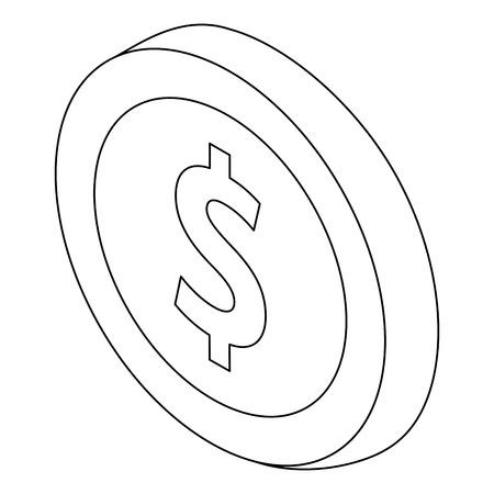 coin money icon symbol in flat isometric 3d vector illustration Ilustração