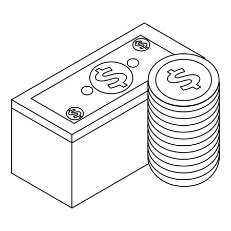 staked banknote and coins currency bank isometric vector illustration outline