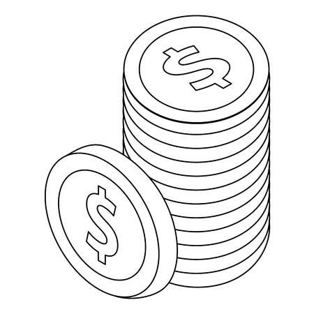 ドル硬貨通貨の積み重ね通貨同数ベクトルイラストの輪郭  イラスト・ベクター素材