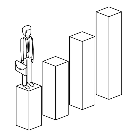 frustrated businessman with briefcase standing on a graph down unsuccessful character isometric vector illustration outline