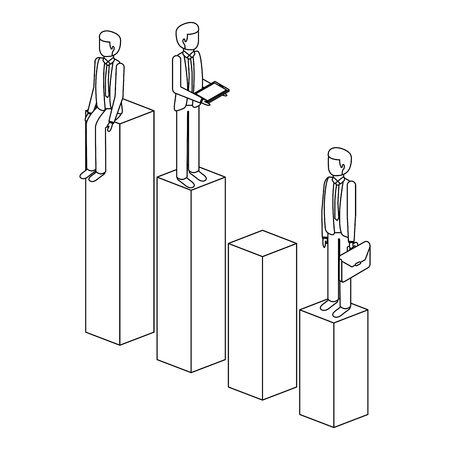 different businessman standing on bar charts their financial status vector illustration outline