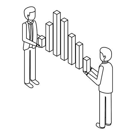 zakenlieden houden grafiek bars financiële zaken isometrische vector illustratie overzicht