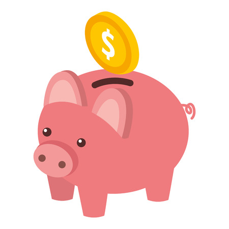 bank piggy with coin money cash isometric vector illustration  イラスト・ベクター素材