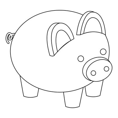 돼지 저금통 보안 돈을 아이소 메트릭 벡터 일러스트 개요를 저장 일러스트