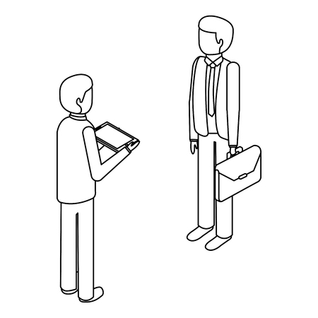 서류 가방 및 태블릿 아이소 메트릭 벡터 그림 개요와 함께 서있는 기업인 일러스트