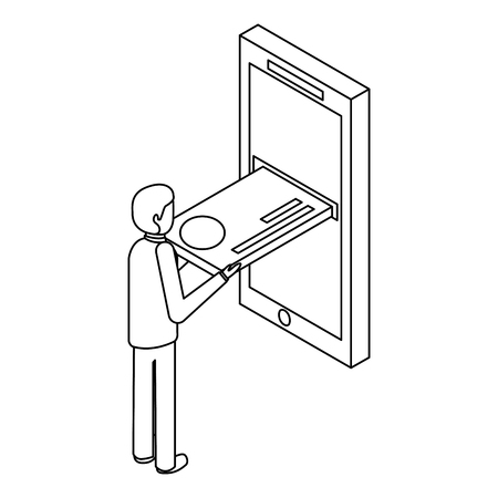 モバイルアイソメベクトルイラストのアウトラインにクレジットカードを挿入するビジネスマン 写真素材 - 91395790
