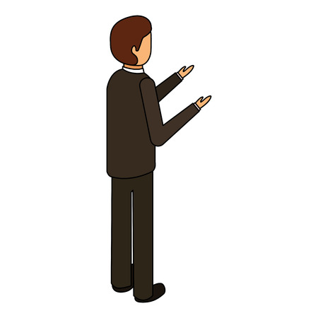 businessman stand back view character isometric vector illustration Illustration