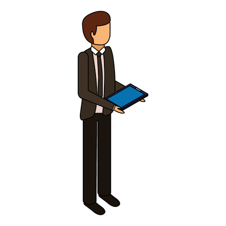 businessman stand holding tablet device vector illustration