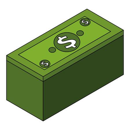 isometric pile of cash money dollars bundle vector illustration