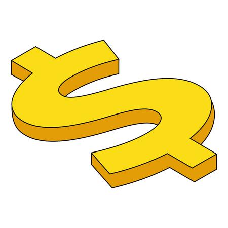 dollar symbol isometric money currency vector illustration