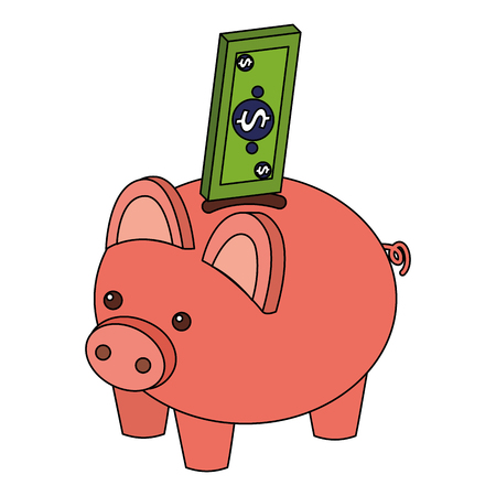 bank piggy with banknote money cash isometric vector illustration