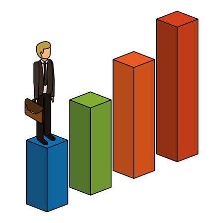 gefrustreerde zakenman met werkmap staande op een grafiek naar beneden niet succesvol karakter isometrische vectorillustratie