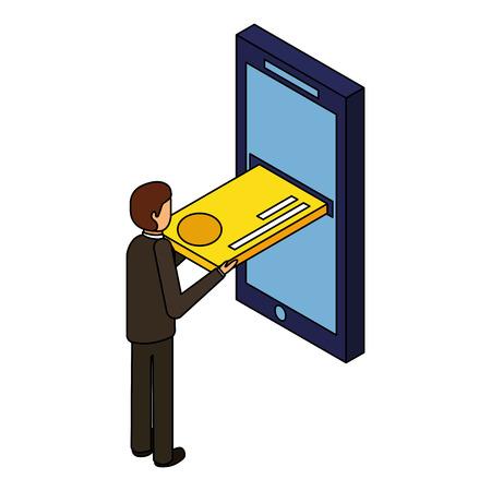 モバイルアイソメベクトルイラストにクレジットカードを挿入するビジネスマン