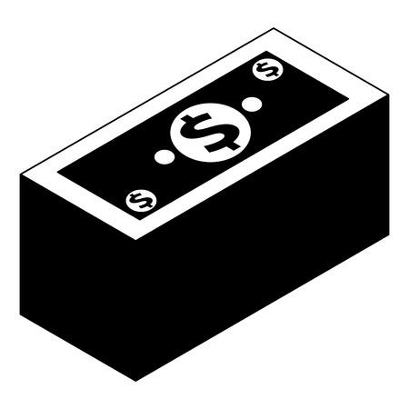 isometric pile of cash money dollars bundle vector illustration black image Illustration