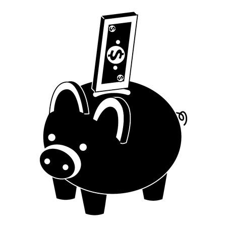 bank piggy met bankbiljetten geld contant geld isometrische vector illustratie pictogram