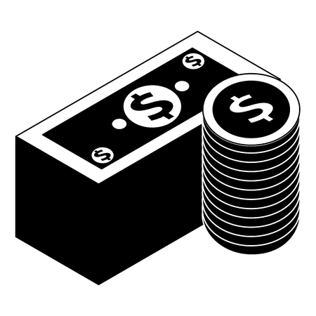 stack banknote and coins currency bank isometric vector illustration pictogram