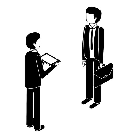 businessmen standing with briefcase and tablet isometric vector illustration pictogram