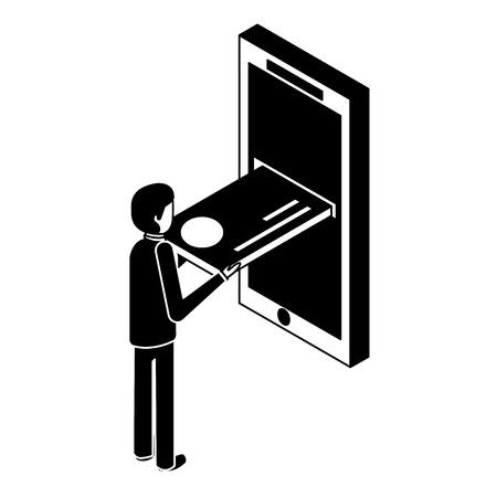 モバイルアイソメベクトルイラストピクトグラムにクレジットカードを挿入するビジネスマン