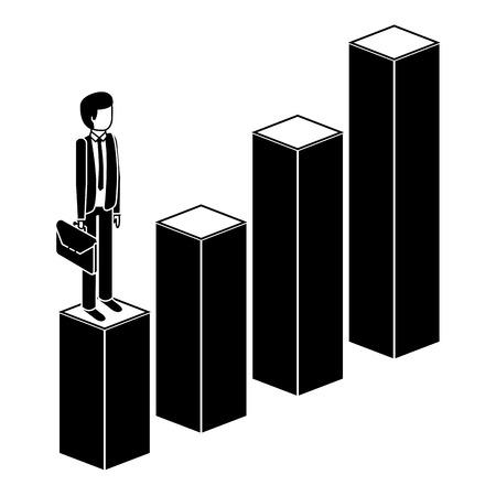 gefrustreerde zakenman met aktetas staande op een grafiek naar beneden onsuccesvol karakter isometrische vector illustratie pictogram Stock Illustratie