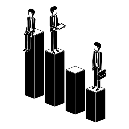 different businessman standing on bar charts their financial status vector illustration pictogram