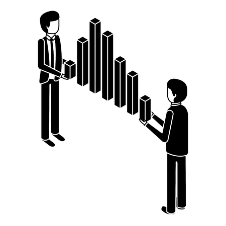 businessmen holding graph bars financial business isometric vector illustration pictogram