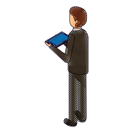 business man with tablet in the hand back view isometric vector illustration drawing