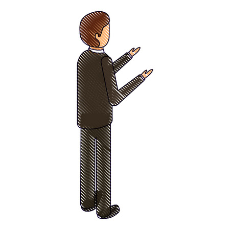 businessman stand back view character isometric vector illustration drawing