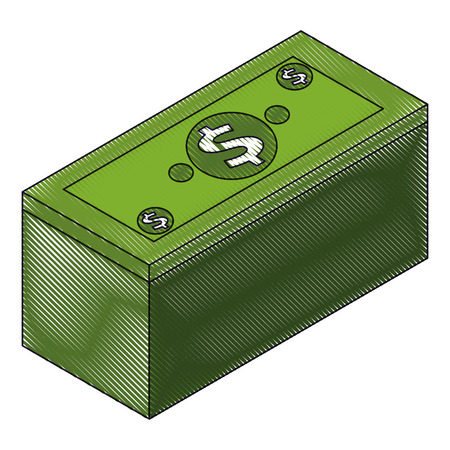 isometric pile of cash money dollars bundle vector illustration drawing