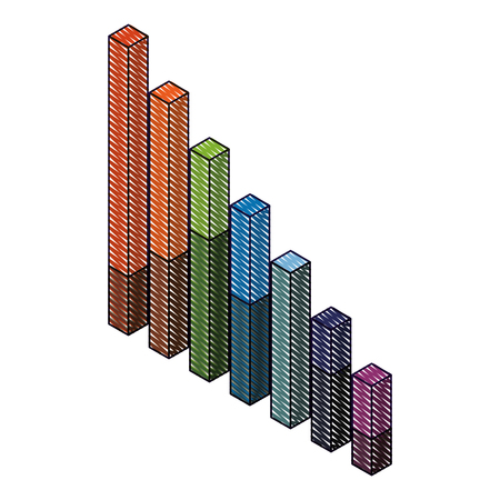 bars statistics isometric financial graph vector illustration drawing