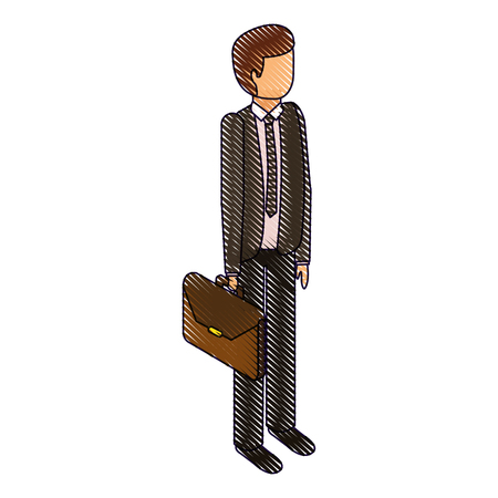 businessman stand holding briefcase isometric image vector illustration drawing